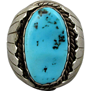 Navajo Sterling Silver Bisbee Turquoise Ring by Tobe Turpen