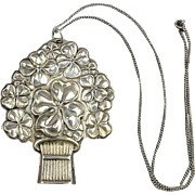 Vintage Sterling Silver GOOD LUCK Whistle Pendant necklace Reed & Barton Clovers