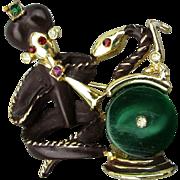 Vintage Figural Snake Charmer Pin Brooch Enamel - Rhinestones