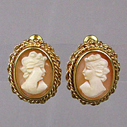 Italian 18K Gold Carved Shell Cameo Girl Earrings - Intricate Setting
