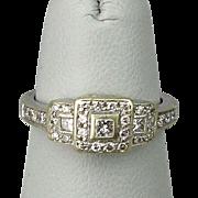 Estate Art Deco 14K White Gold Diamond Ring