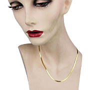 Vintage 14K Gold Herringbone Chain Necklace 18 Inches 10.2 Grams