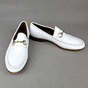 Vintage Mens GUCCI White Leather Horsebit Loafers Dress Shoes Italy