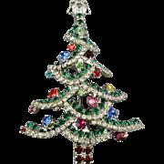 Vintage Dorothy Bauer Rhinestone Christmas Tree Pin Pendant Brooch