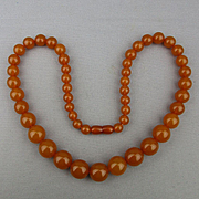 Vintage c1920s Butterscotch Copal Amber-Look Bead Necklace 62 Grams - 25 Inches