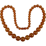 Genuine Butterscotch Baltic Amber Bead Necklace 62 Grams - 25 Inches
