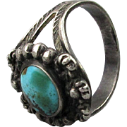 Vintage Sterling Silver Turquoise Navajo Ring Handmade c1950s