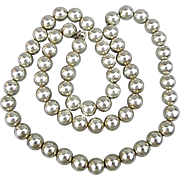 SOLD Vintage Sterling Silver Bead Necklace 25 Inches w/ 10mm Beads