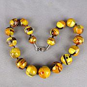 Most Unusual Modernist Baltic Amber Bead Necklace Egg Yolk Butterscotch