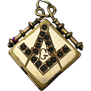 Victorian Gilded Masonic Locket Pendant w/ Jeweled Symbol