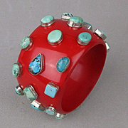 Huge Red Lucite Bracelet w/ 30 Turquoise Cabs in Sterling Silver