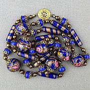 Venetian Art Glass Wedding Cake Bead Necklace Cobalt Blue w/ Gilt