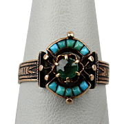 Early Victorian 14K Rose Gold Ring w/ Turquoise - Emerald
