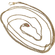 SOLD Victorian 14K Gold-Filled Watch Locket Chain w/ 10K Jeweled Slide