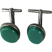 Mexican Signed Zevahc CHAVEZ Sterling Silver Green Onyx Cufflinks