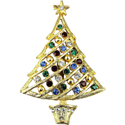 Vintage Rhinestone Christmas Tree Pin Brooch - Colorful