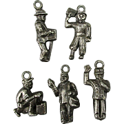 Old 1920s Metal Figural Charms - Police Organ Grinder Newsboy Shoe Shine Mailman