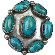 Big Native American Ring - Sterling Silver & Turquoise Circle