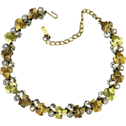 Pretty Vintage Necklace - 2-Tone Gilt Leaves w/ Aurora Borealis Crystal
