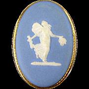 Vintage Gold-Filled Van Dell Wedgwood Jasperware Pin Brooch Pendant - Fairy Lady