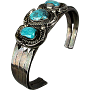 Old Sterling Silver Navajo Cuff Bracelet w/ Turquoise Trio