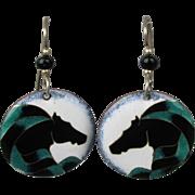 Modernist Enamel Earrings - Stylized Horse