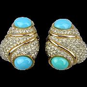 Wowsa CINER Faux Diamonds / Turquoise Earrings