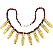 Vintage Tribal Ethnic Necklace w/ Gilded Figures