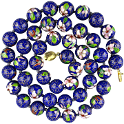 Long Chinese Cloisonne Enamel Bead Necklace 15mm Beads 30 Inches Long