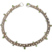Sterling Silver Woven Collar Necklace w/ Pearls & Peridot