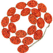 Vintage CORO Molded Celluloid Coral Floral Belt Necklace