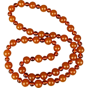 Vintage Genuine Butterscotch Baltic Amber Bead Necklace - 2-Tone Beauty