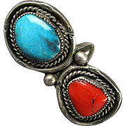Vintage Mid-Century Navajo Ring - Big Coral & Turquoise in Sterling Silver