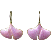 Vintage Chinese Pink Enamel on Silver Lily Pad Earrings