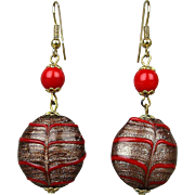 Vintage Gold Flecked Art Glass Glass Dangle Earrings w/ Red Bands