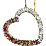 Vintage 10K Gold Heart Pendant Necklace w/ Diamonds - Rubies