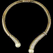 Gorgeous Crystal Rhinestone Spring Hinge Collar Necklace - Signed