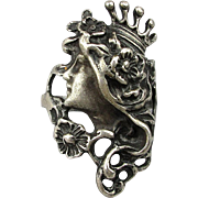 SOLD Vintage Sterling Silver Ring Pretty Girl Flowing Hair w/ Crown