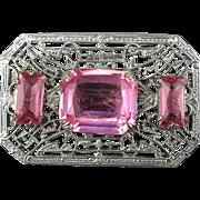 Art Deco Rhodium Plated Filigree Pin w/ Pink Rhinestones