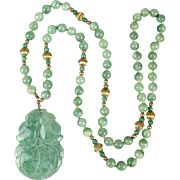 Vintage Adventurine Jade Bead Necklace w/ Big Carved Pendant
