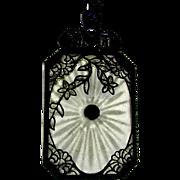 Victorian Camphor Glass Filigree Pendant Necklace