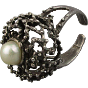 Mid Century Sterling Silver Brutalist Ring w/ Genuine Pearl