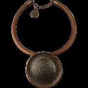 Vintage Large Burnished Copper Shield Pendant Necklace - Handmade Ethnic Stunner