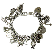Vintage 1940s Solid Sterling Silver Charm Bracelet - 22 Charms - 112 Grams - Heart Mermaid & M