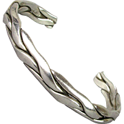 Vintage Braided Sterling Silver Mexican Cuff Bracelet Unisex