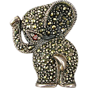 Vintage Sterling Silver Elephant Pin Brooch Covered w/ Marcasite