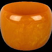 Wide 2 Inch Butterscotch Faux Bakelite Bangle Bracelet