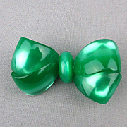 Vintage Moonglow Lucite Bow Pin Blue Green Chunky