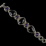 Impressive Sterling Silver Amethyst - Onyx Link Bracelet
