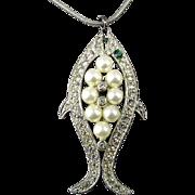 Vintage Eisenberg Rhinestone - Faux Pearl Fish Pendant Necklace